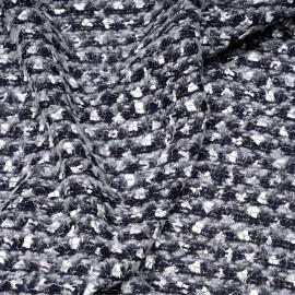 Tissu maille bleu et gris à motif brodés argent gatsby x 10cm