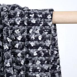 Tissu maille bleu et gris à motif brodés argent gatsby - pretty mercerie - mercerie en ligne
