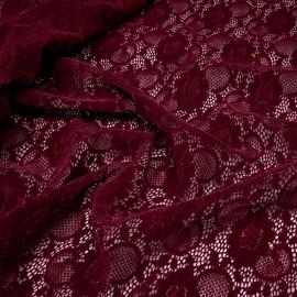 Tissu dentelle velour tawny port à motif fleurs x 10cm