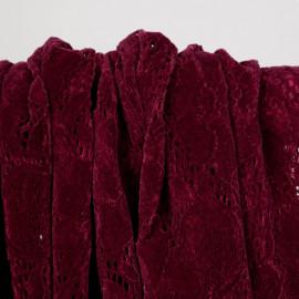 Tissu dentelle velour rouge à motif fleurs - pretty mercerie - mercerie en ligne