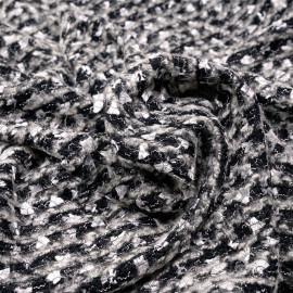 Tissu maille noir et crème à motif brodés argent gatsby x 10cm