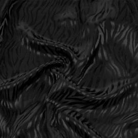 Tissu triacétate noir motif zébré tissé x 10 CM