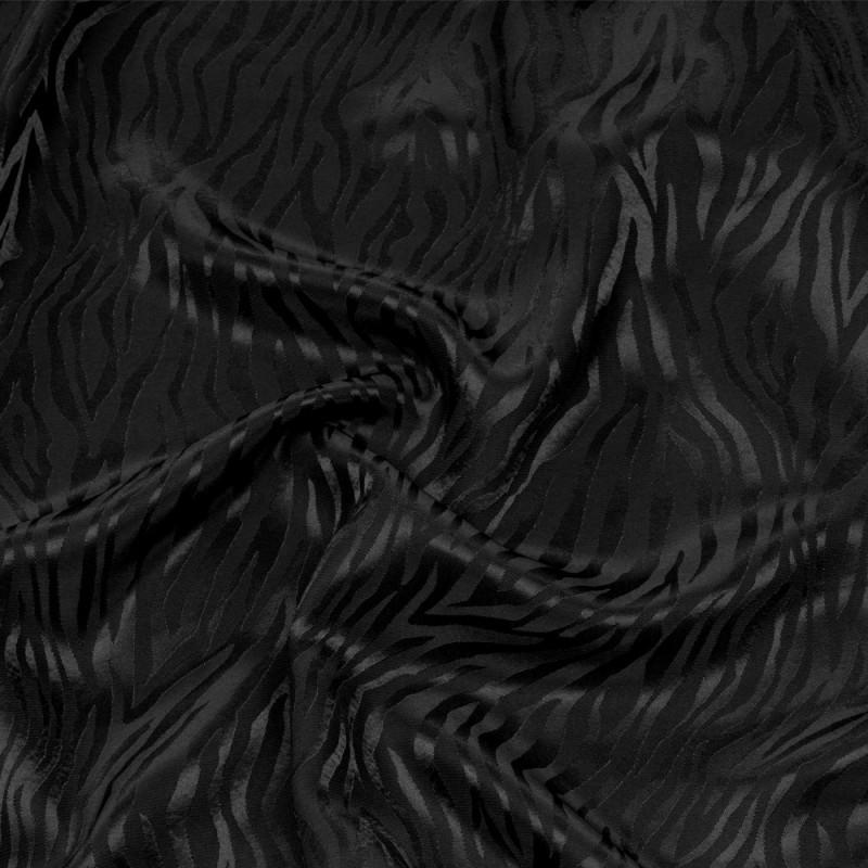 Tissu triacétate noir motif zébré tissé - pretty mercerie - mercerie en ligne