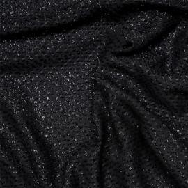 Tissu mousseline noir à motif tissé brillant x 10cm