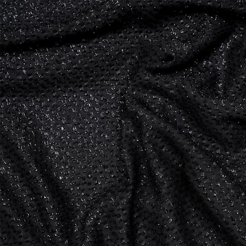 Tissu noir transparent à motif tissé brillant - pretty mercerie - mercerie en ligne