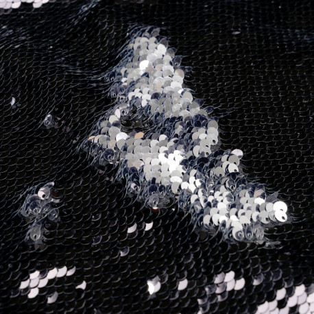 Tissu sequin double face noir et argent - pretty mercerie - mercerie en ligne