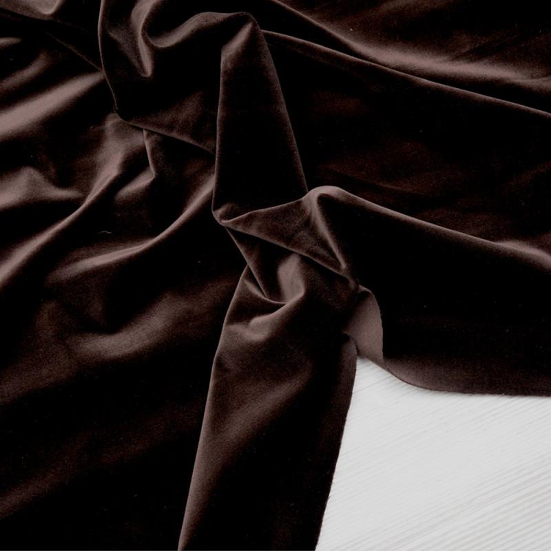 Tissu velours ras marron grain de café  - pretty mercerie - mercerie en ligne