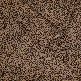 Tissu mousseline sucre brun à motif léopard x 10cm