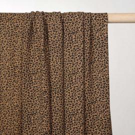 Tissu mousseline sucre brun à motif léopard - pretty mercerie - mercerie en ligne