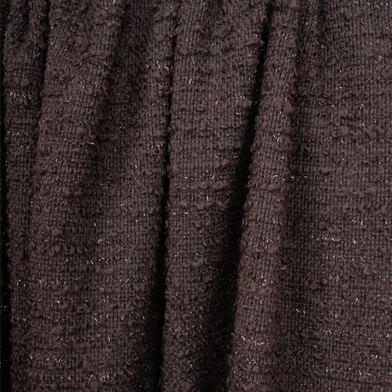 tissu lainage maille marron foncé à lignes bouclettes et fil lurex marron -pretty mercerie - mercerie en ligne