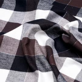 Tissu Flanelle de coton à carreaux et chevrons noir châtaigne blanc cassé et fil argent -pretty mercerie - mercerie en ligne
