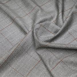 Tissu Prince de Galles noir et blanc à motif ethnique et lignes caramel x 10 cm