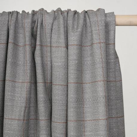 Tissu Prince de Galles noir et blanc à motif ethnique et lignes caramel -pretty mercerie - mercerie en ligne