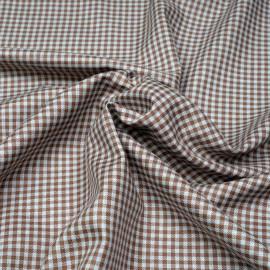 Tissu coton vichy tissé cappuccino et gris x 10cm