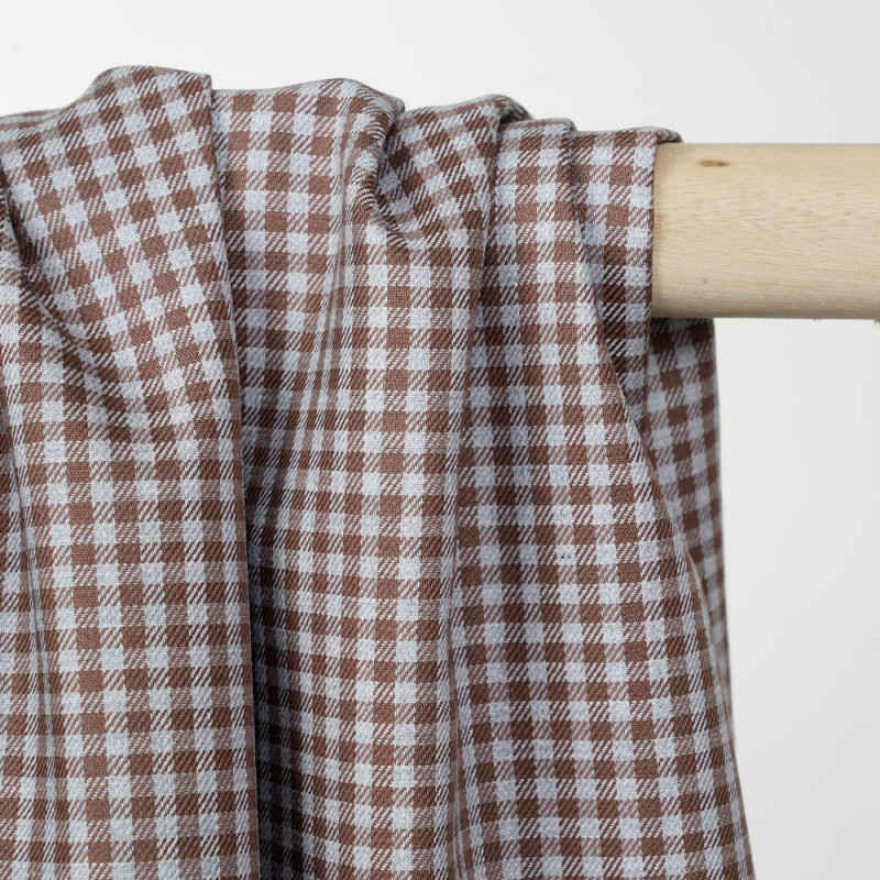 Tissu coton vichy tissé cappuccino et gris - pretty mercerie - mercerie en ligne