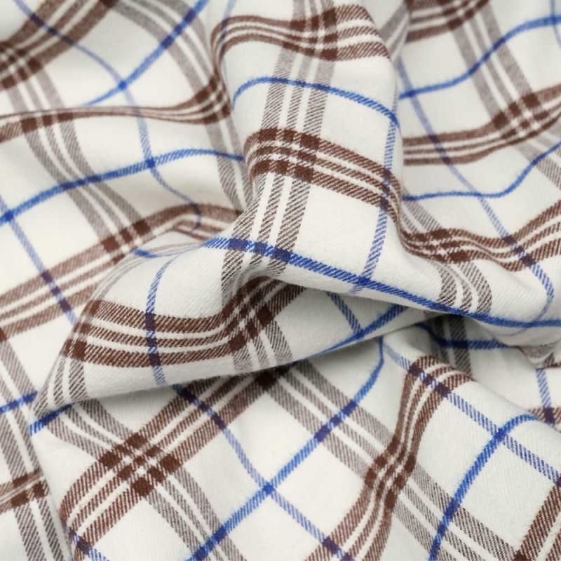 Tissu Flanelle de coton et laine blanc cassé à motif tartan cinnamon et bleu - pretty mercerie - mercerie en ligne