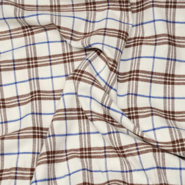 Tissu Flanelle de coton et laine blanc cassé à motif tartan cinnamon et bleu x 10cm