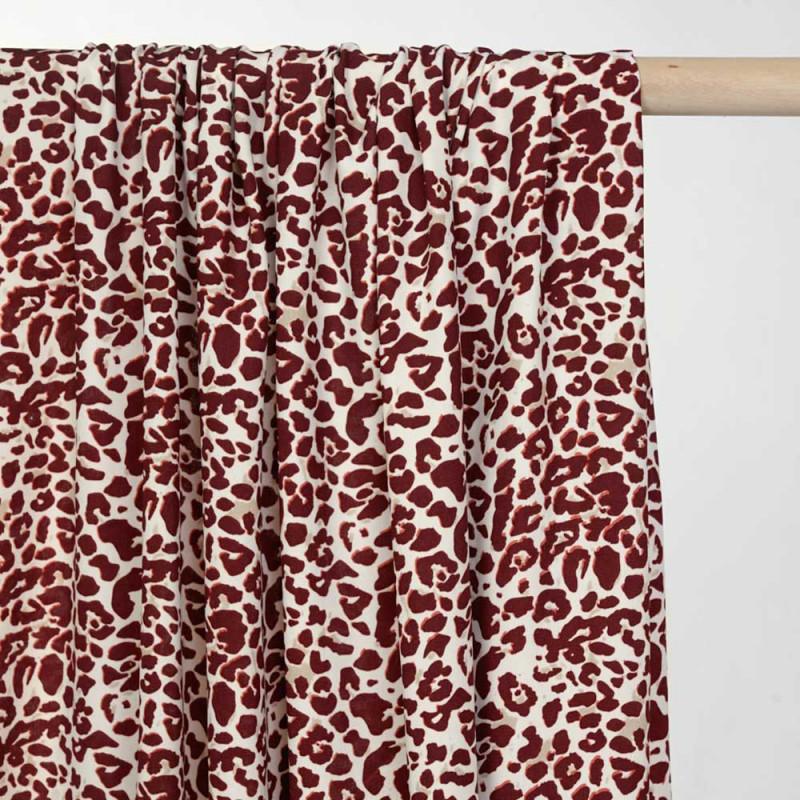 Tissu crème à motif léopard bordeaux -pretty mercerie - mercerie en ligne