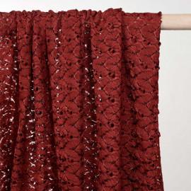 Tissu dentelle cinnabar à motif bohème mat et brillant - pretty mercerie - mercerie en ligne