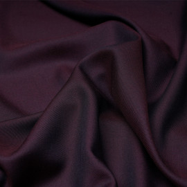 Tissu tencel et laine sergé aubergine et bleu nuit x 10cm