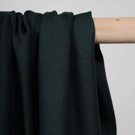 Tissu tencel et laine sergé vert et bleu nuit - pretty mercerie - mercerie en ligne