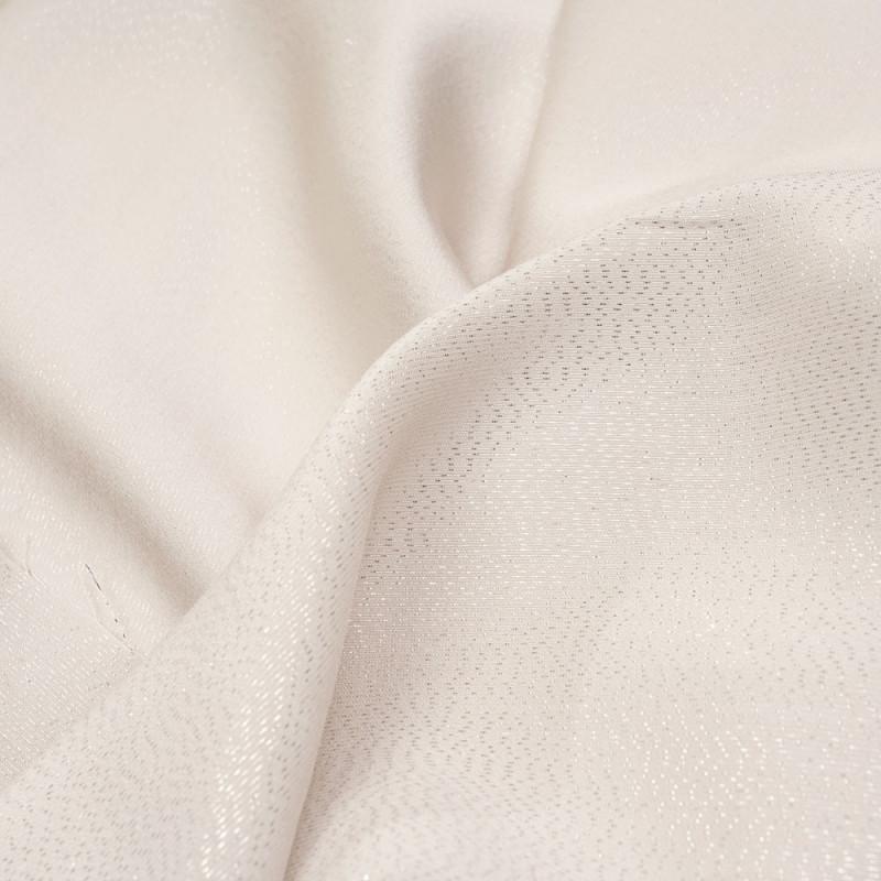 Tissu triacétate et viscose white swan satiné et fils argent tissés - pretty mercerie - mercerie en ligne