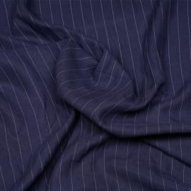 Tissu tencel sergé bleu peacoat à motif rayures pointillés x 10cm