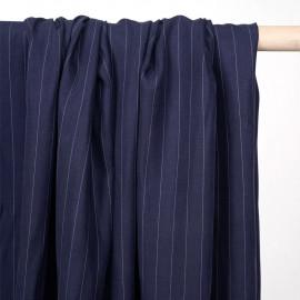 Tissu tencel sergé bleu peacoat à motif rayures pointillés - pretty mercerie - mercerie en ligne