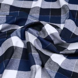 Tissu Flanelle de coton à carreaux et chevrons noir bleu estate blanc cassé et fil argent x 10cm