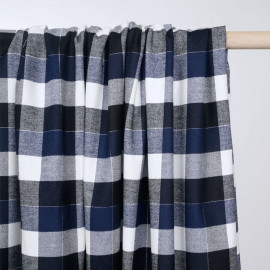 Tissu Flanelle de coton à carreaux et chevrons noir bleu estate blanc cassé et fil argent - pretty mercerie - mercerie en ligne