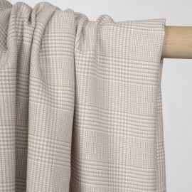 Tissu Prince de Galles sable et blanc cassé -pretty mercerie - mercerie en ligne