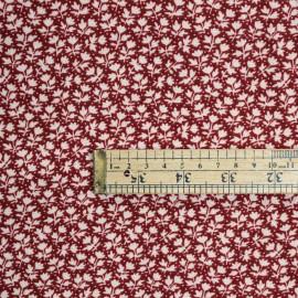 Tissu  à motif fleuri beige et blanc - pretty mercerie - mercerie en ligne
