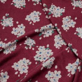 Tissu jersey rumba red motif fleuri x 10cm