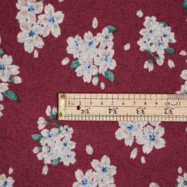 Tissu jersey bordeaux motif fleuri - pretty mercerie - mercerie en ligne