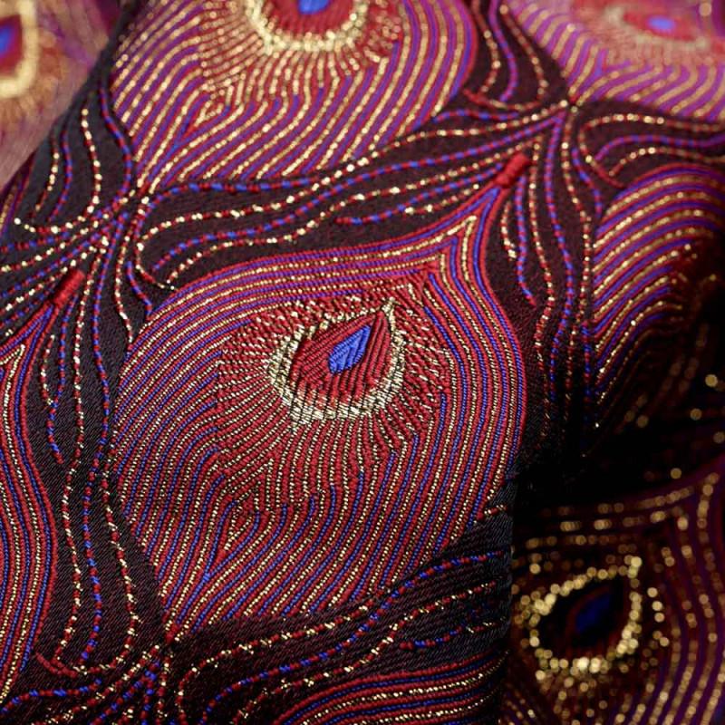 Tissu jacquard queue de paon bordeaux bleu et lurex or - pretty mercerie - mercerie en ligne