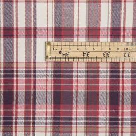 Tissu coton à motif tartan bordeaux beige et fil lurex argent  - pretty mercerie - mercerie en ligne