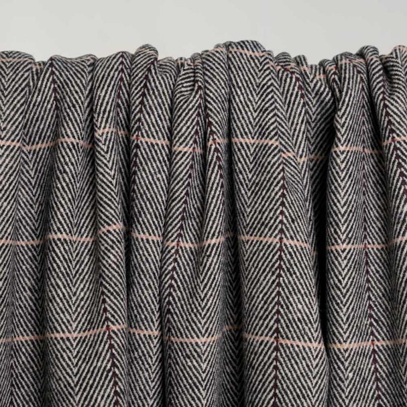 Tissu lainage chevron et lignes bordeaux et roses - pretty mercerie - mercerie en ligne