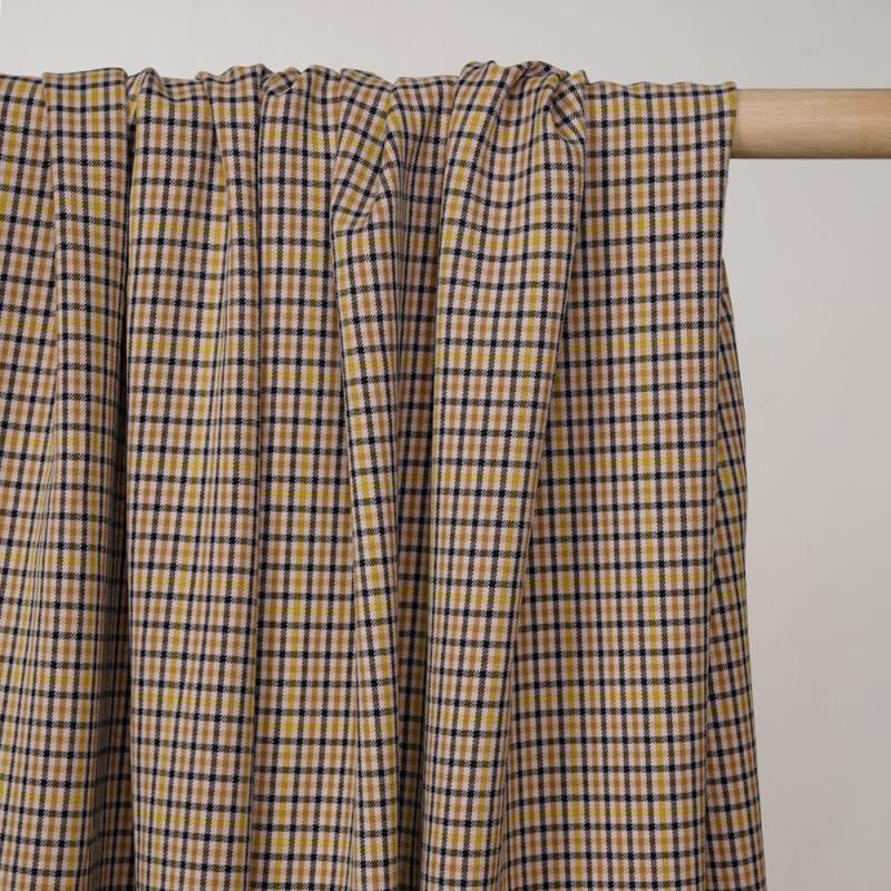 Tissu beige frappé à carreaux jaune noir et honey mustard  - Pretty Mercerie - mercerie en ligne