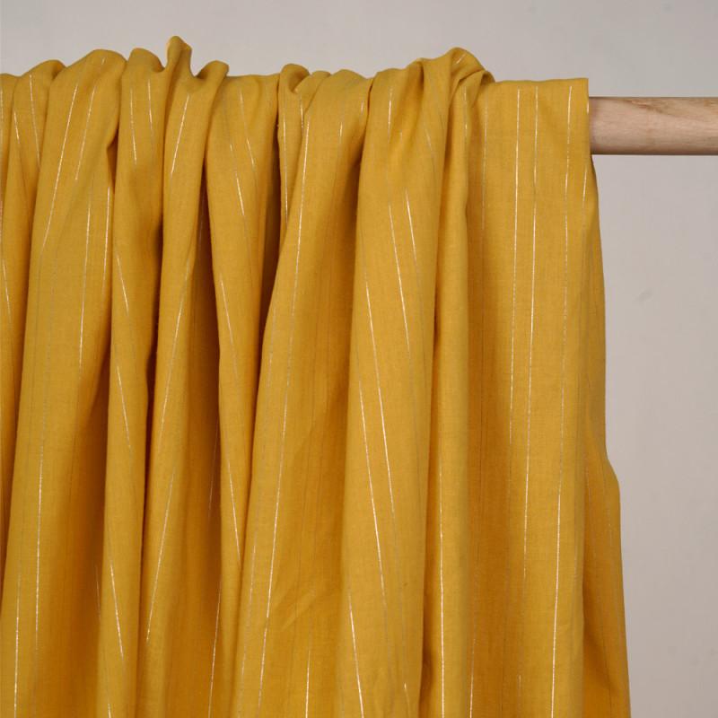 Tissu coton jaune minéral à motif lignes lurex argent - Pretty Mercerie - mercerie en ligne