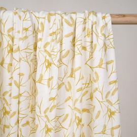 Tissu coton sergé blanc cassé à motif épis de blé ocre - Pretty Mercerie - mercerie en ligne