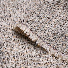 Tissu tweed blanc cassé noir golden oak et lurex or x 10 CM