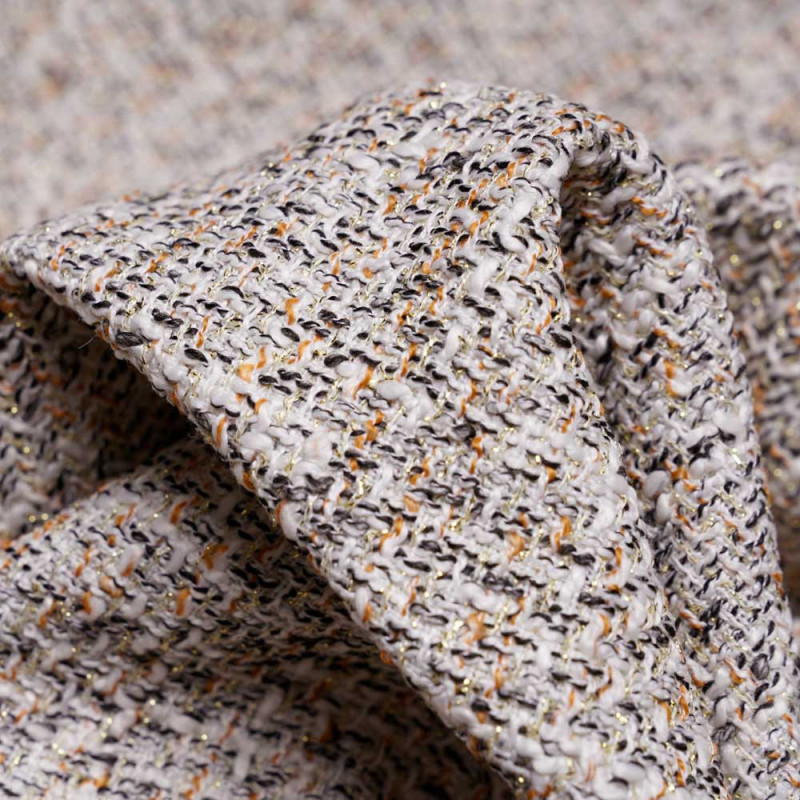 Tissu tweed blanc cassé noir golden oak et lurex or -Pretty Mercerie - mercerie en ligne
