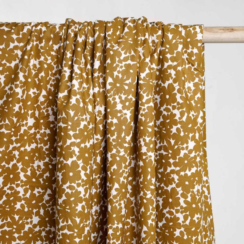 Tissu coton blanc à motif fleuri inca gold - Pretty Mercerie - mercerie en ligne