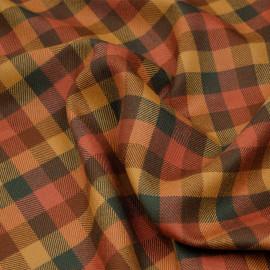Tissu lainage carreaux miel doré ginger spice et vert evergreen - Pretty Mercerie - mercerie en ligne