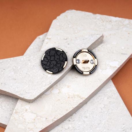 Bouton métal doré sertis polyester imitation cuir 25 mm - pretty mercerie - mercerie en ligne