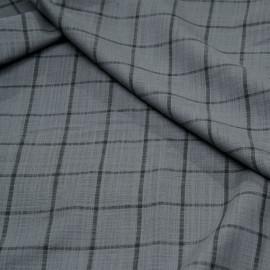 Tissu lin gris acier à motif carreaux gris castlerock x 10 cm