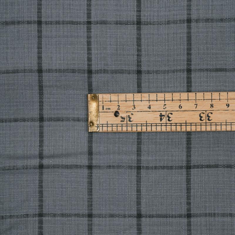 Tissu lin gris acier à motif carreaux gris castlerock - pretty mercerie - mercerie en ligne