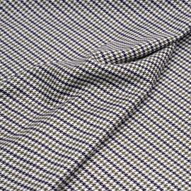 Tissu poly-viscose blanc cassé motif pied de poule kaki et bleu x 10 CM