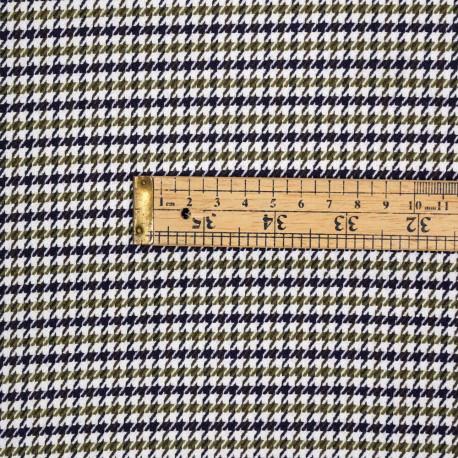Tissu poly-viscose blanc cassé motif pied de poule kaki et bleu - pretty mercerie - mercerie en ligne
