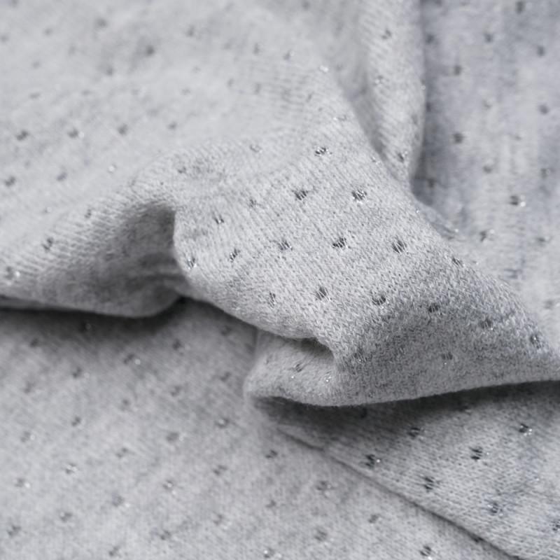 Tissu maille gris lunar rock à motif pois ajourés et fils argent - pretty mercerie - mercerie en ligne